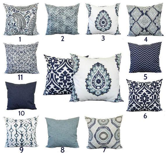 Indigo Blue Navy Gray White Pillow Throw Pillow Pillow Home