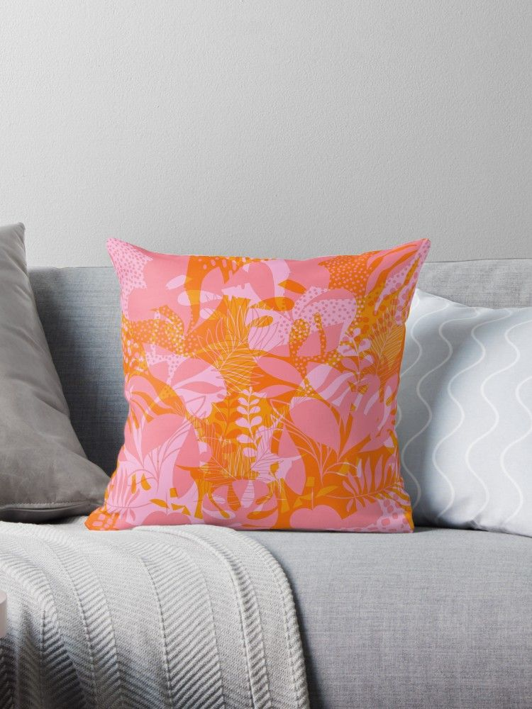 Vibrant Tropical Jungle Pattern Pink And Orange Throw Pillow By