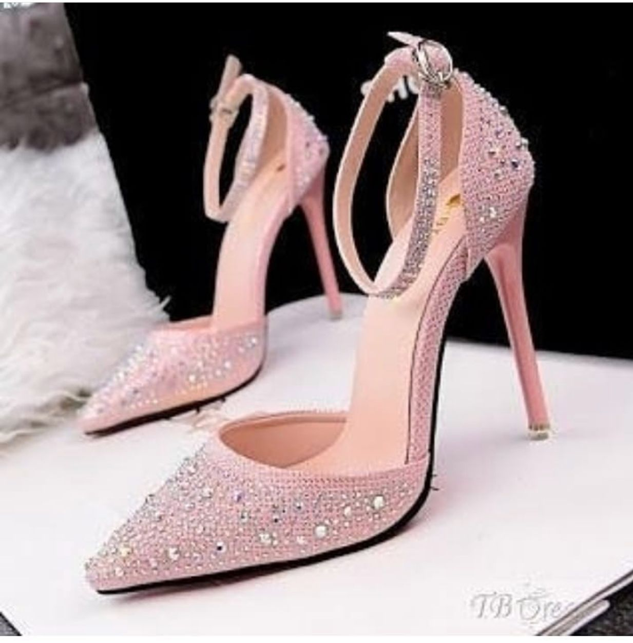 c7775b088ed ... High Heels Women Pumps Rhinestone Sweet Shallow Mouth Thin Hollow  ladies Wedding Shoes with heels. Pink Rhinestone Ankle Strap...Pretty