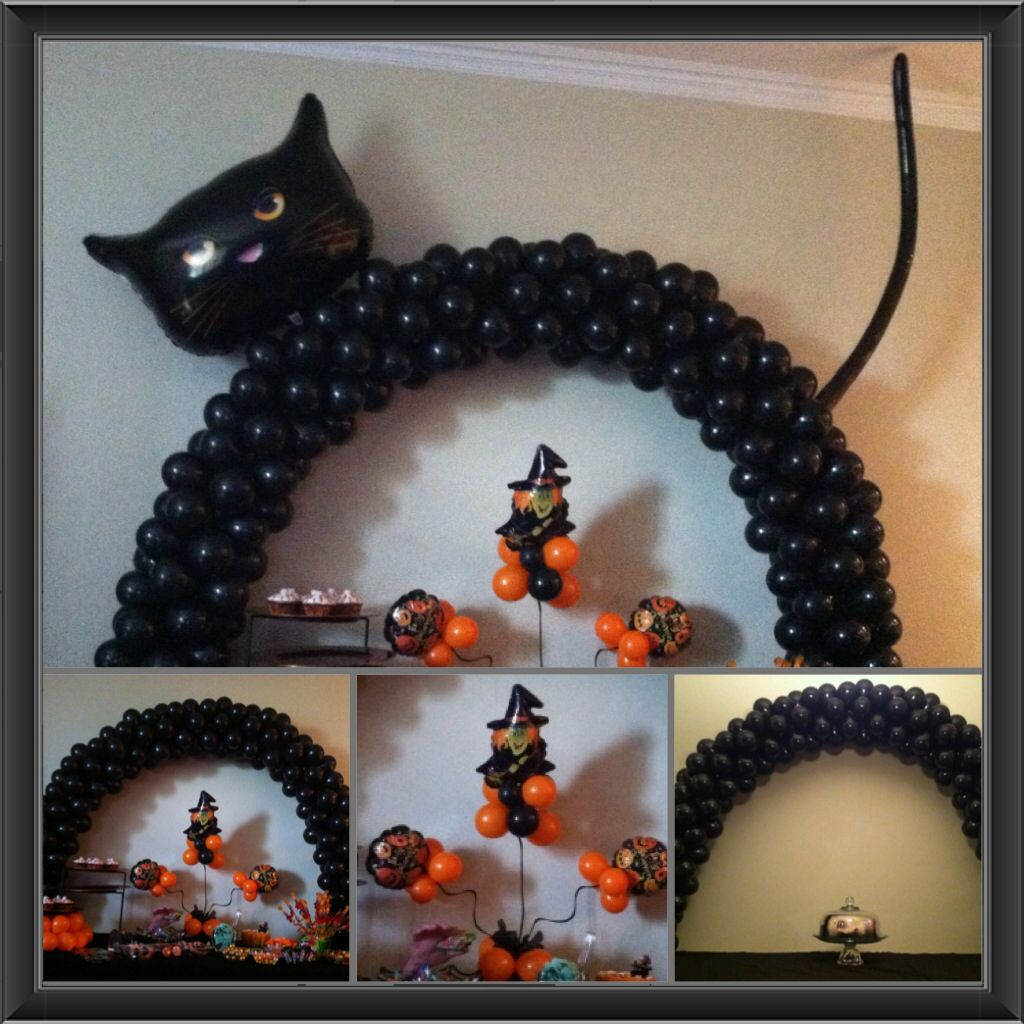 Halloween inspired balloon decorations black cat arch for Balloon decoration for halloween