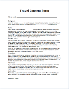 Travel Consent Form Download At HttpWwwTemplateinnCom