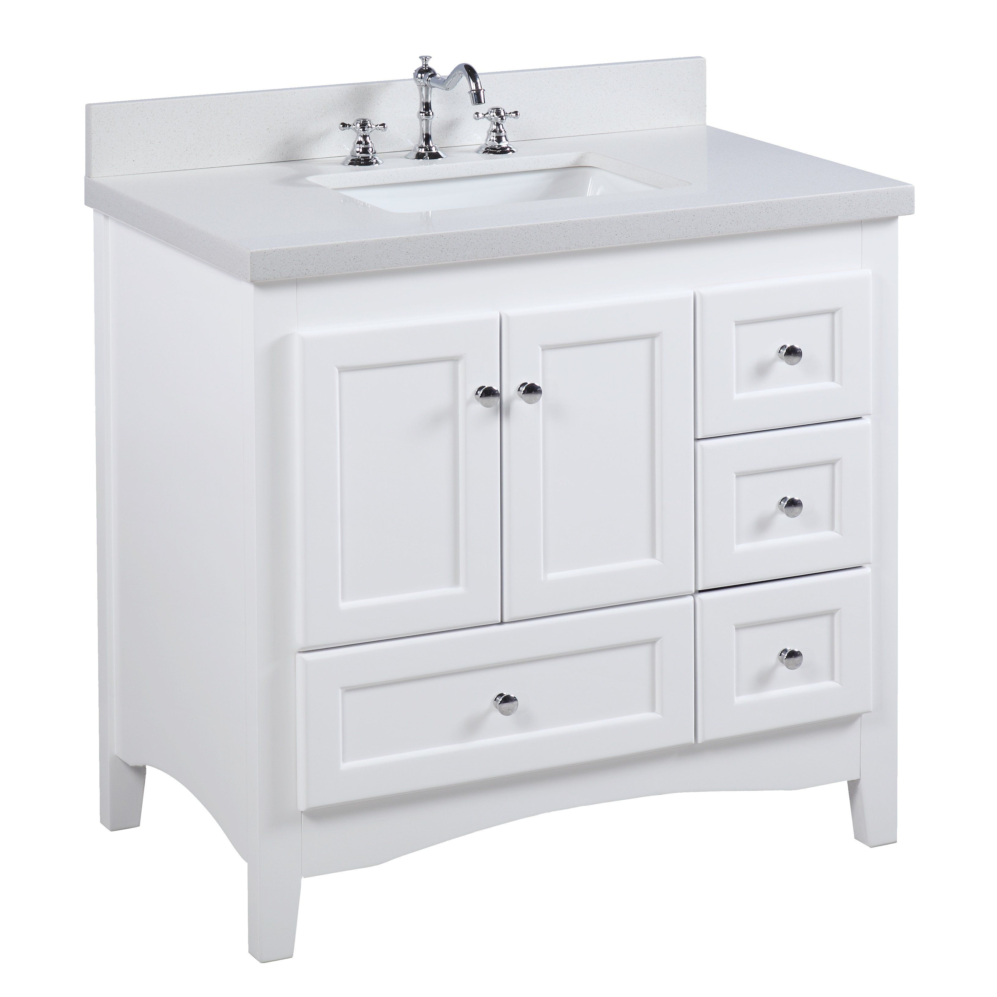 Abbey 36 Inch Vanity Quartz White With Images Single