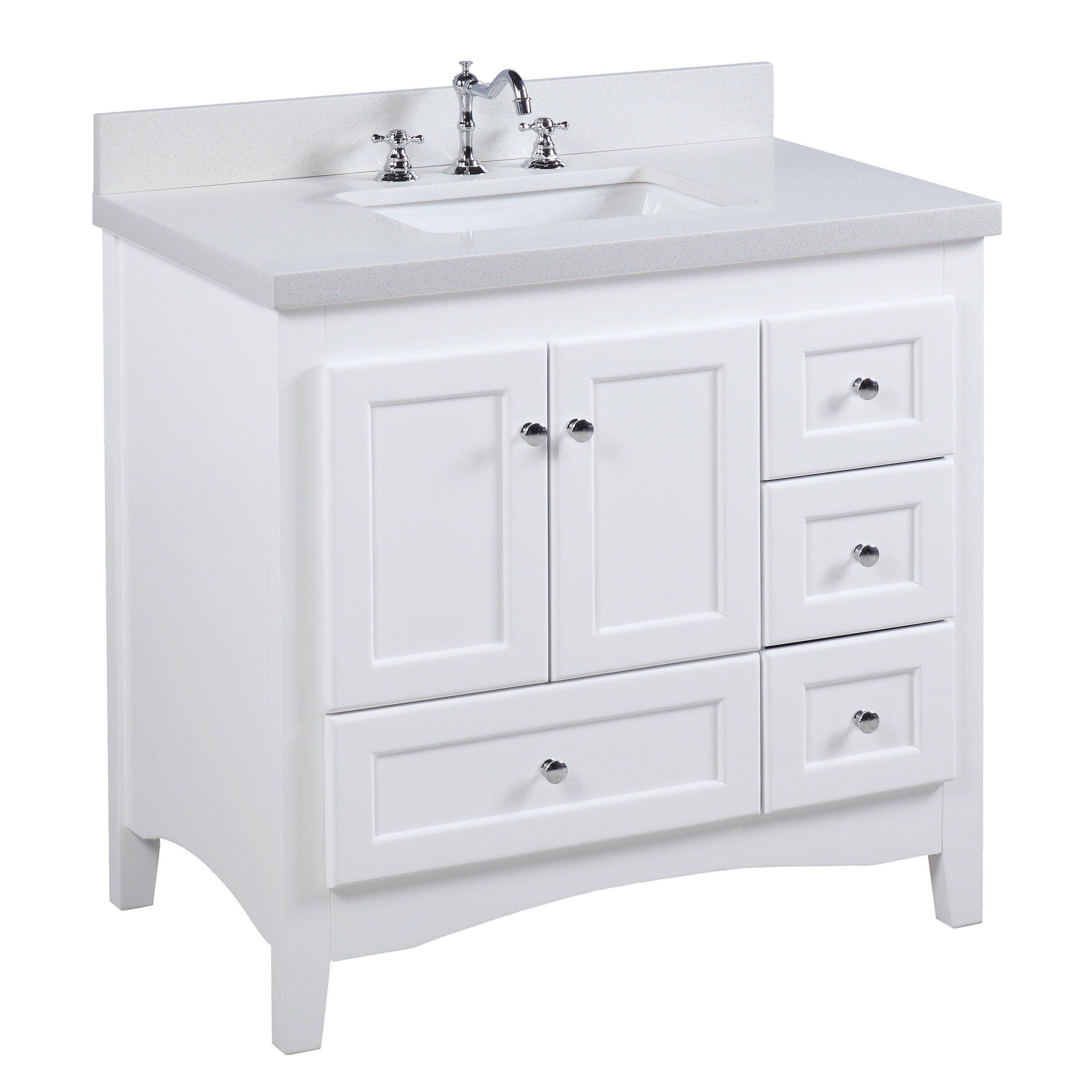 Abbey 36 Inch Vanity Quartz White Single Bathroom Vanity 36
