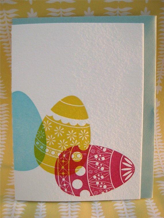 Easter Card Making Ideas Part - 35: Letterpress Easter Card. 3 Color Print