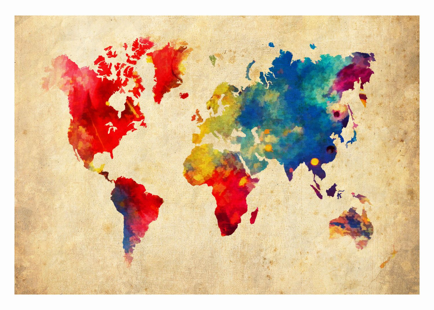 World map 11x17 absract products i love pinterest print world map absract print poster by themapshop on etsy sciox Gallery