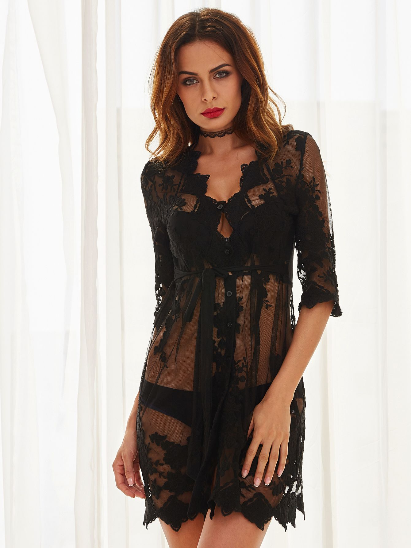 Black lace deep v neck seethrough dress black laces campaign and