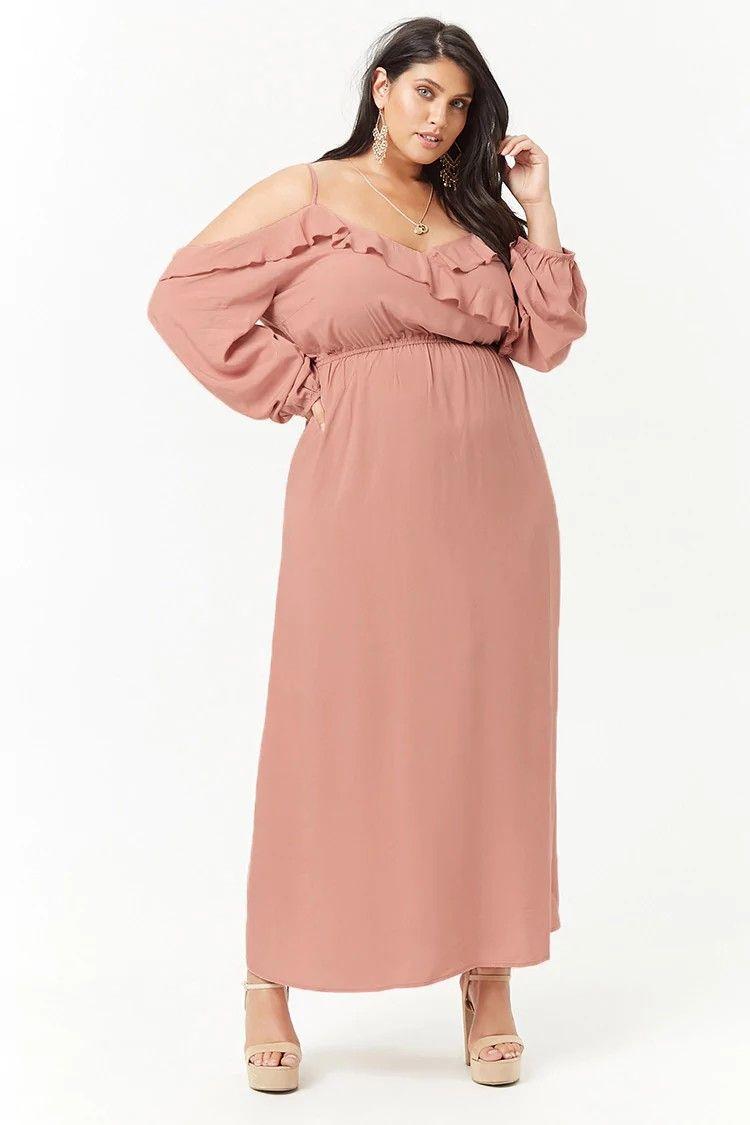 Plus size ruffle openshoulder maxi dress ootd style