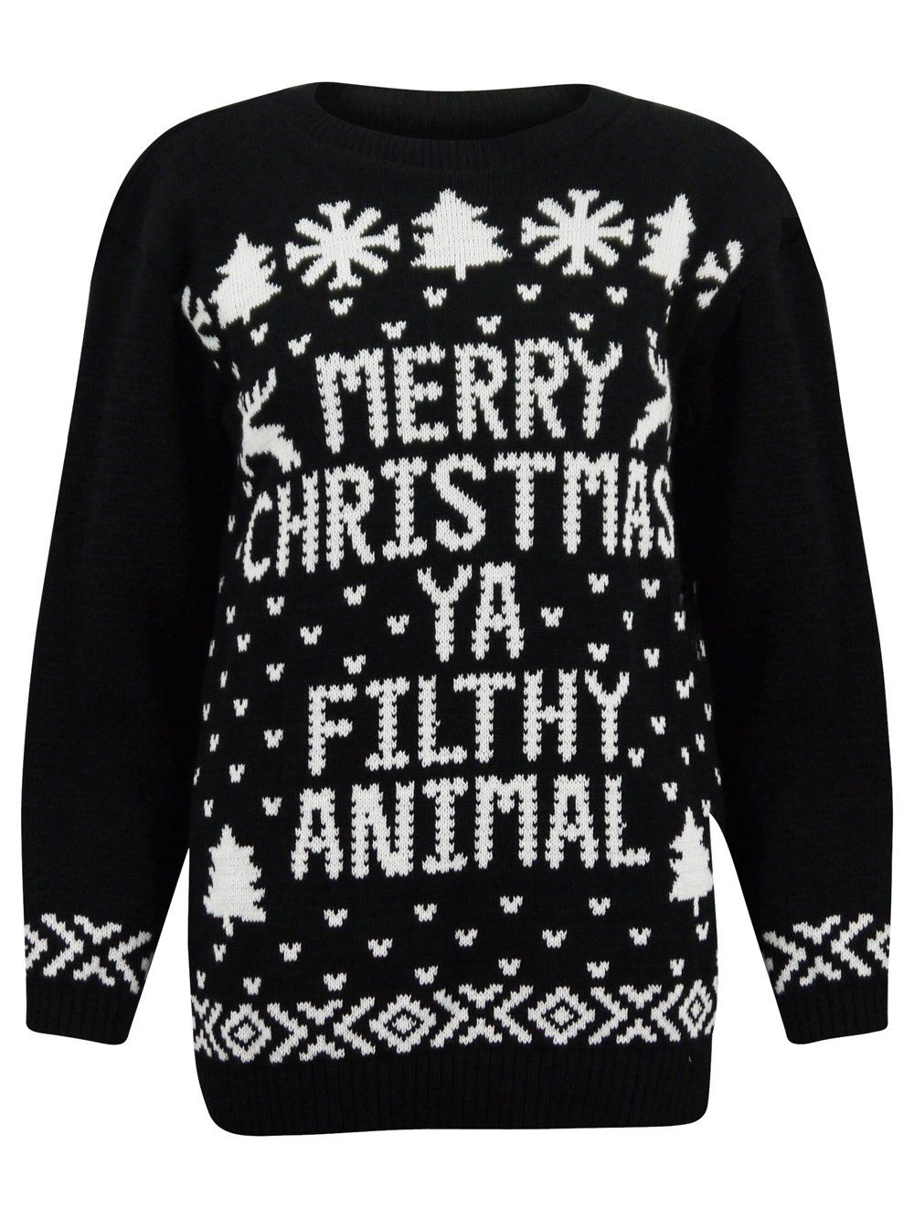 black merry christmas you filthy animal knitted jumper