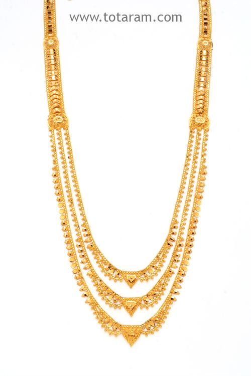 22k Gold Long 3 Lines Necklace