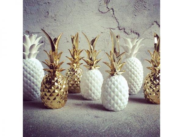 Ananas c ramique blanc et or c ramique pinterest for Objet deco ananas