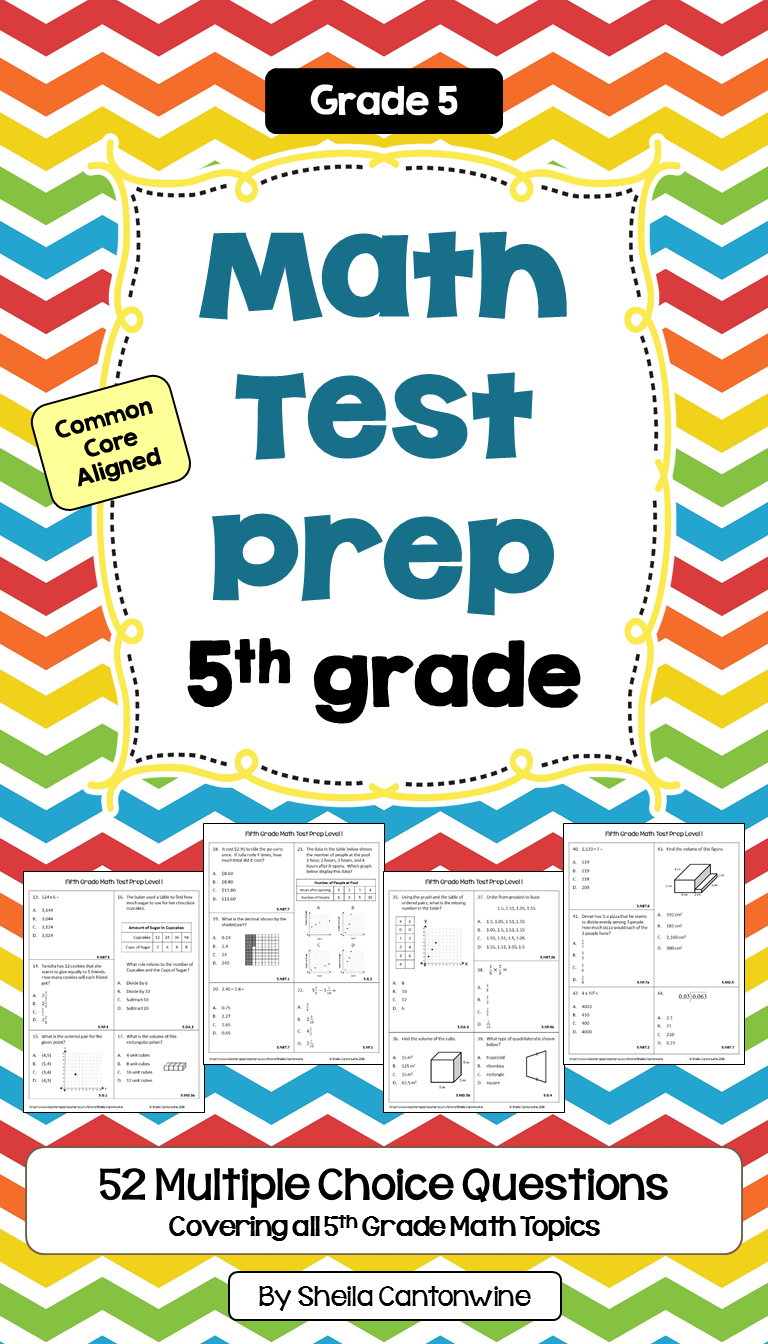End of Year Math Review - 5th Grade Math Worksheets | Math test ...