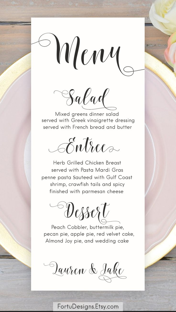 Calligraphy MENU Wedding menu Printable menu cards Script menu card ...