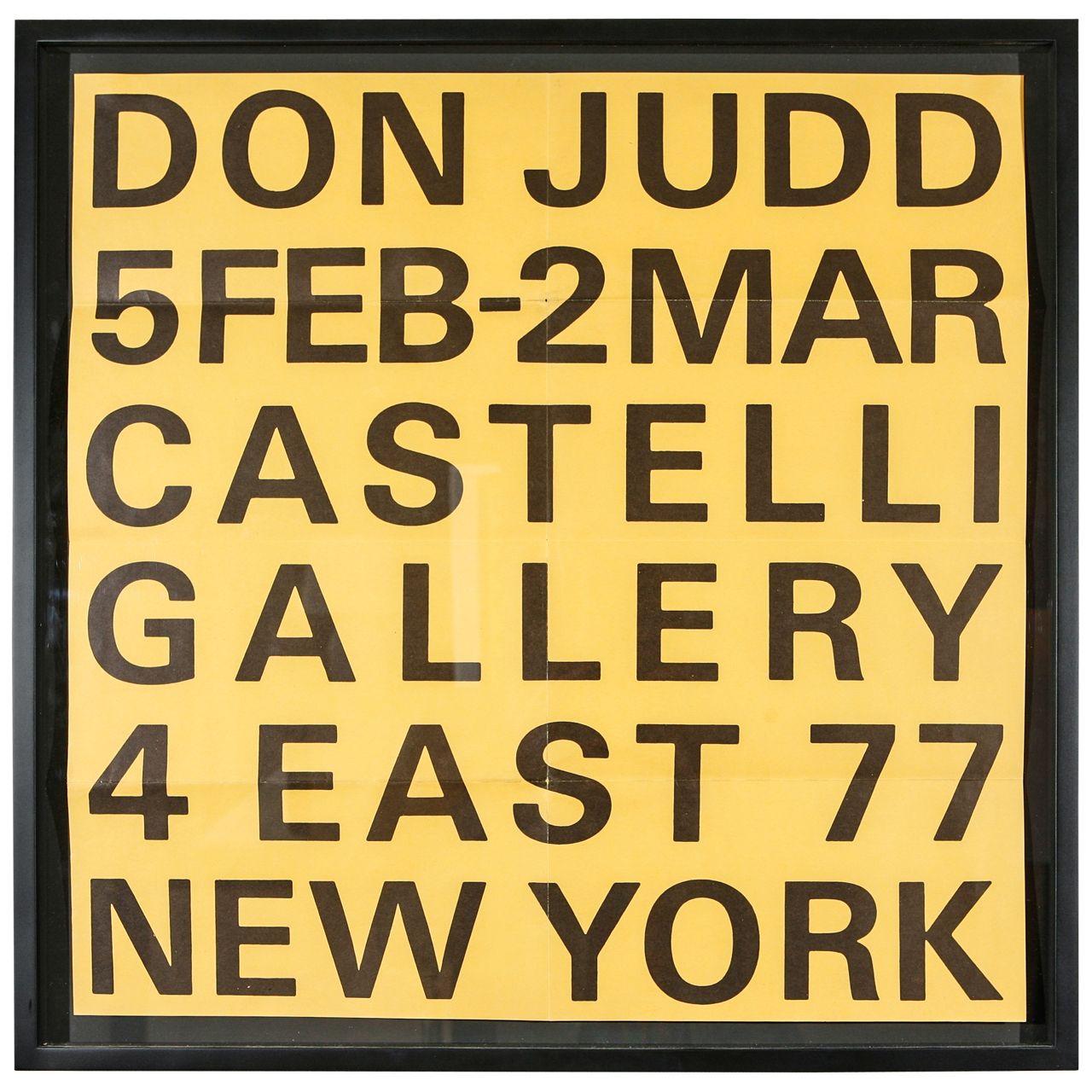 Rare Original Donald Judd Lithograph Announcing Exhibition- 1966 ...