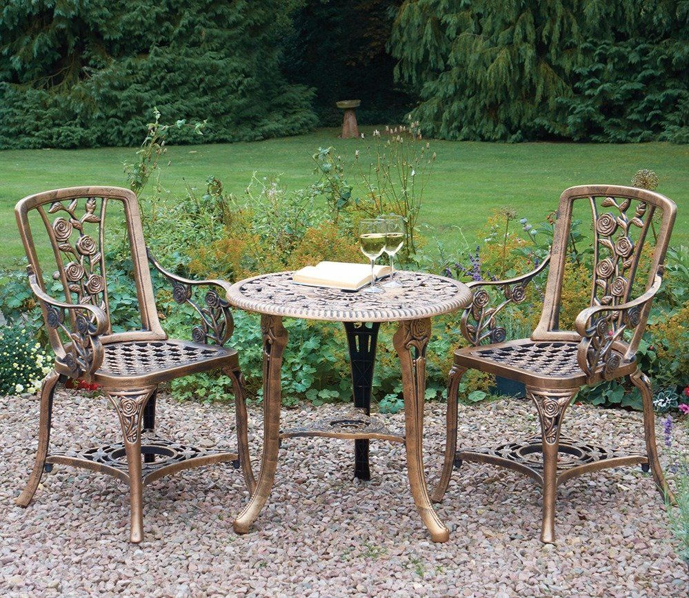 Bronze 3 Piece Rose Arm Chair Patio Set For 2 Vintage Patio Outdoor Tables Chairs Garden Dining Set