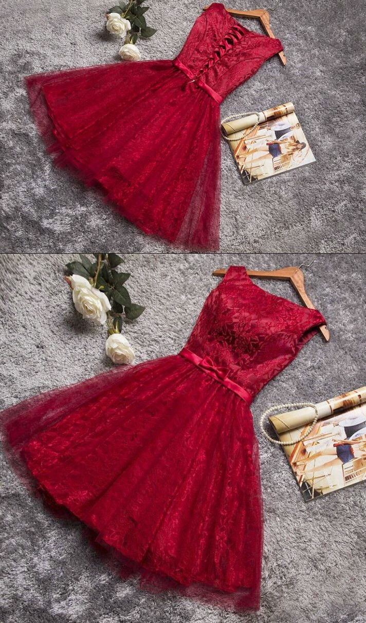 Aline round neck laceup dark red lace short homecoming dress