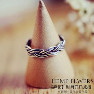 韩国定制新款S925纯银饰品做旧复古素银小清新麻花戒指气质百搭