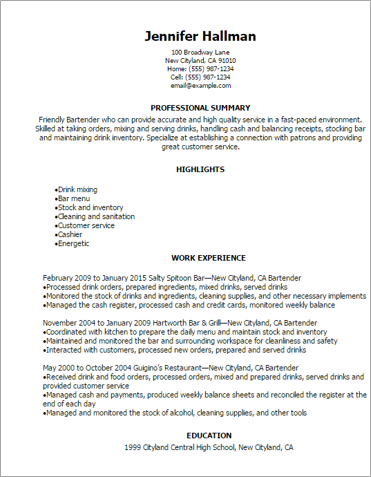 Resume For Bartender Resume Templates Bartender And Samples With Free Download Sample