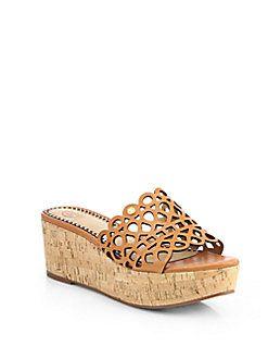 119e5d880c Tory Burch - Dunn Leather Cork Wedge Slides Saks Fifth Avenue