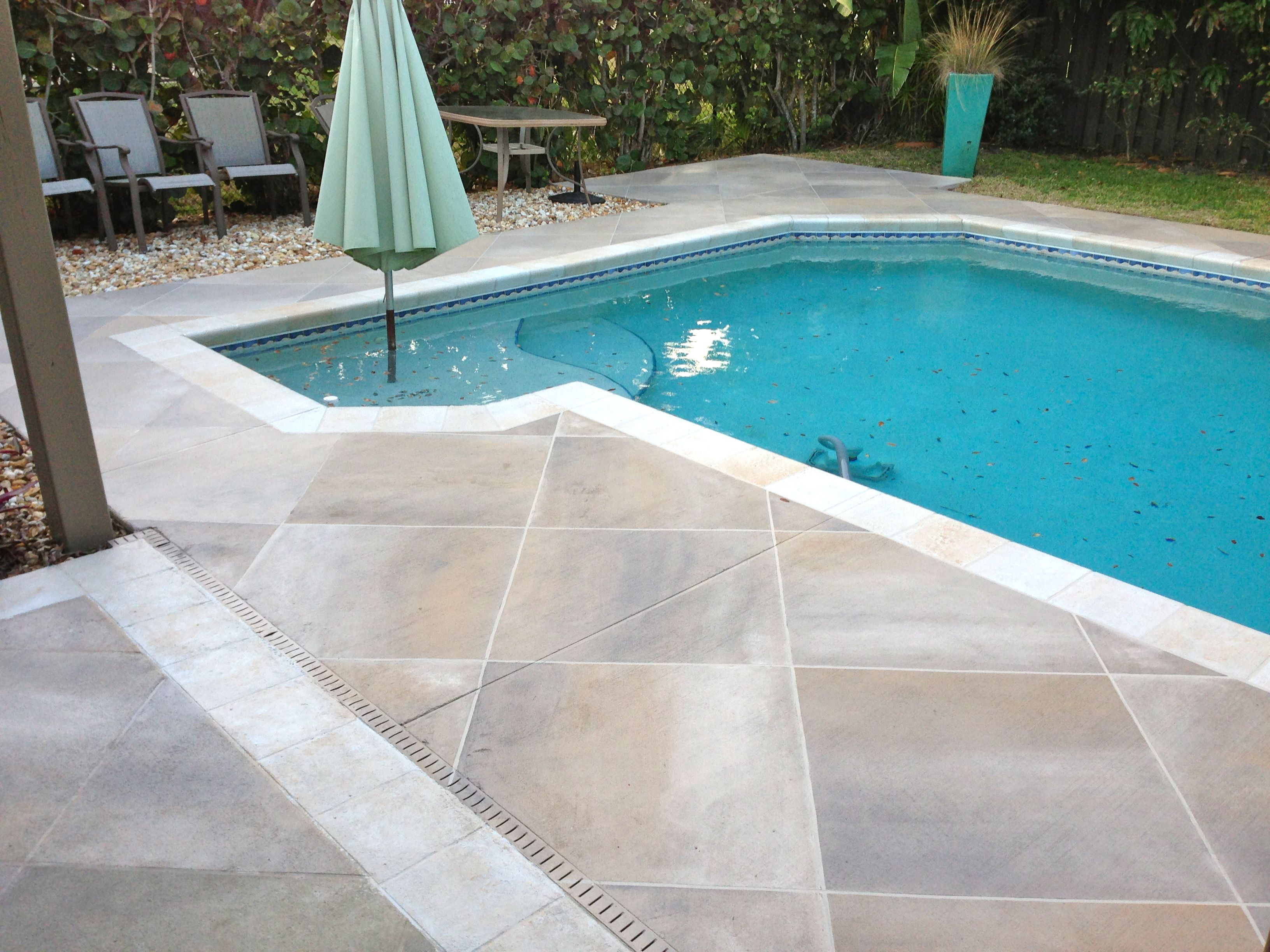 stained concrete pool Google Search Travertine pool