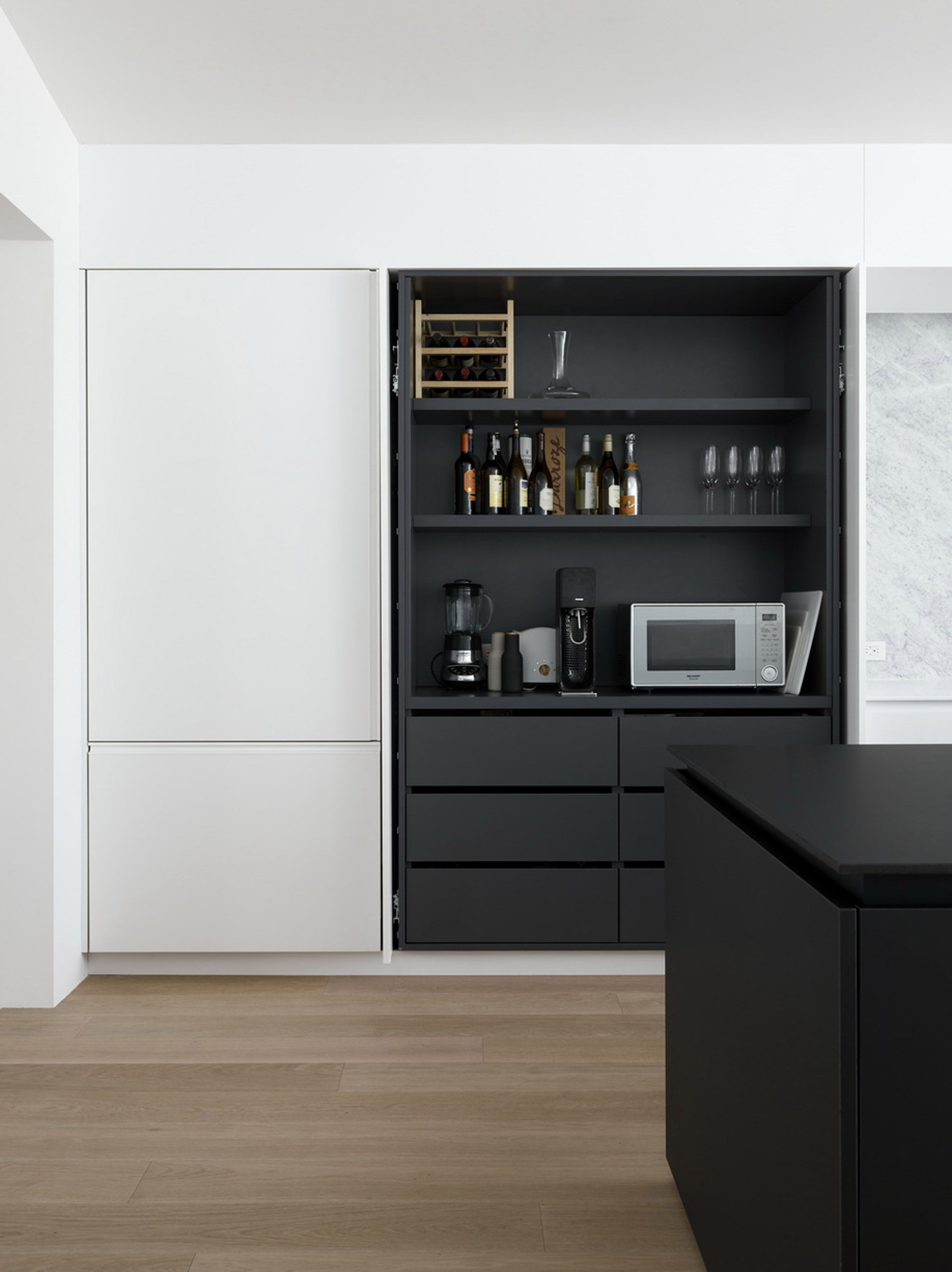 Love the \'built-in\' look they got with Ikea cabinets, and that all ...