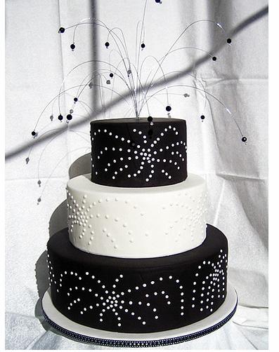 Black And White Fireworks Wedding Cake