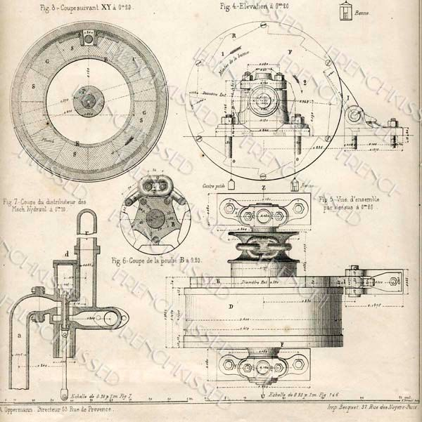 No 1 STEAMPUNK Gears Antique FRENCH Elevator Motor BLUEPRINT - new no blueprint meaning