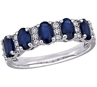 Sure to outshine other accessories, this sapphire ring radiates elegance from its gemstone and diamond design. From Bellini.