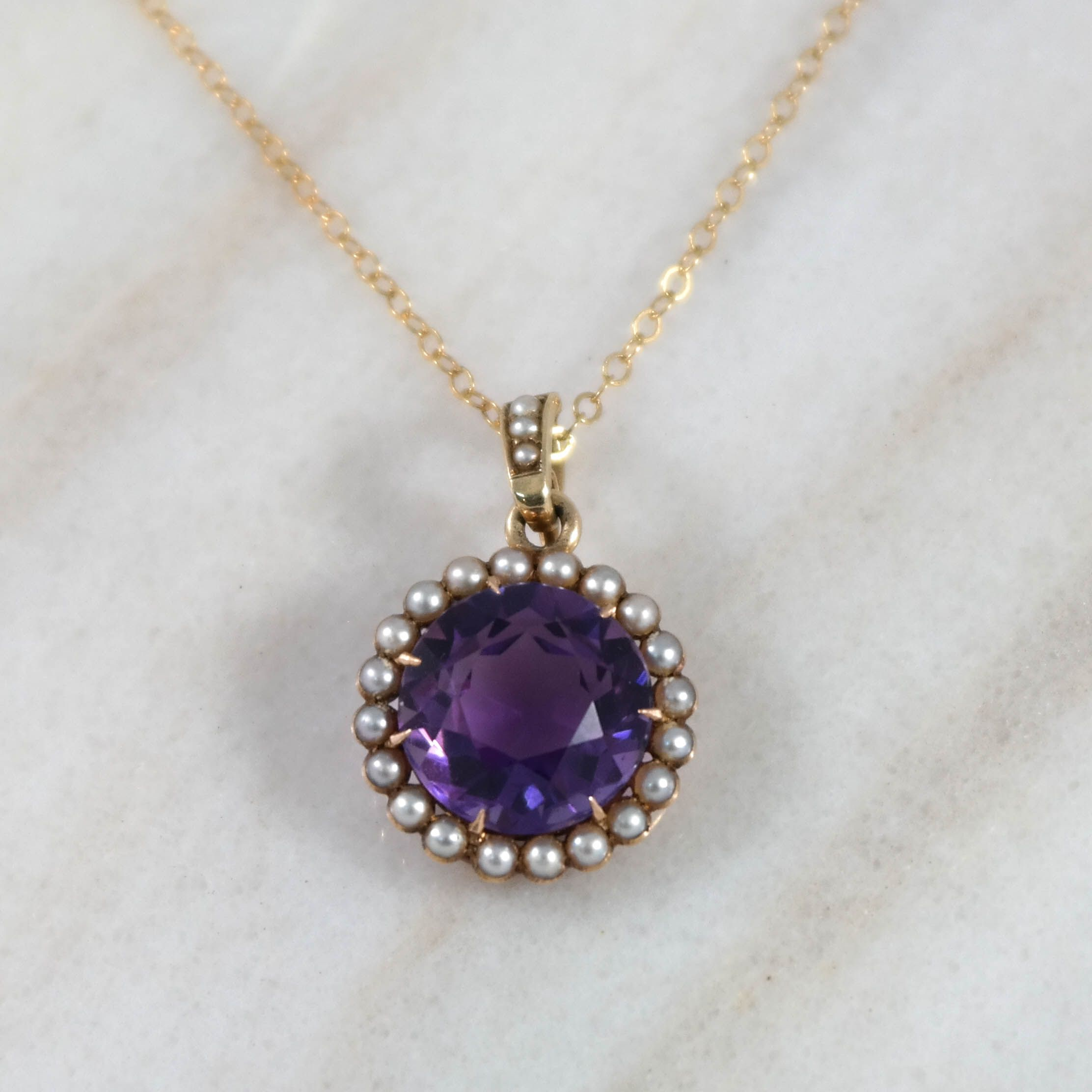 14K Yellow Gold Antique Amethyst and Pearl Pendant
