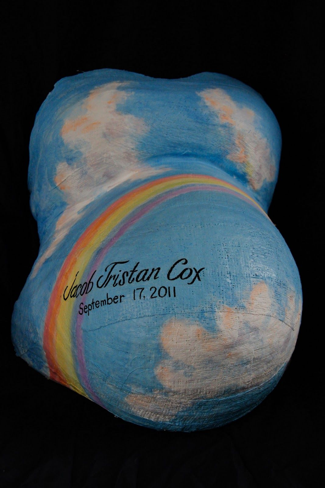 birth babies breasts oh my: Belly Cast for Baby Jacob rainbow belly painting