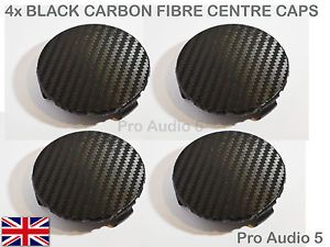 4x Negro Fibra De Carbono Centro De Rueda Caps 75 mm Mercedes Clase C E CLK S CL AMG UK