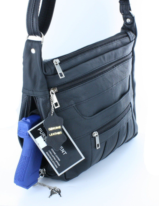 ef051f140b Black Crossbody or Shoulder Carry Leather Locking Concealment Purse - CCW  Concealed Carry Gun Bag