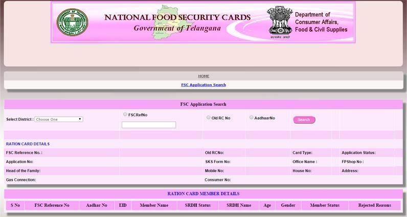 Epds Telangana Food Security Card Status Epds Telangana Gov In