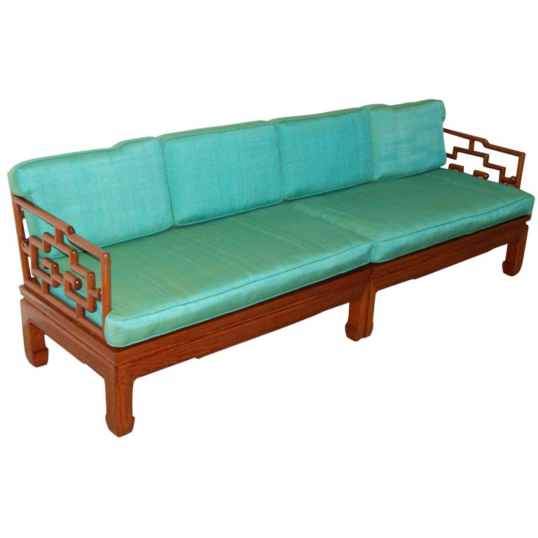 Enjoyable Hollywood Regency Asian James Mont Style Sofa Contenders Theyellowbook Wood Chair Design Ideas Theyellowbookinfo
