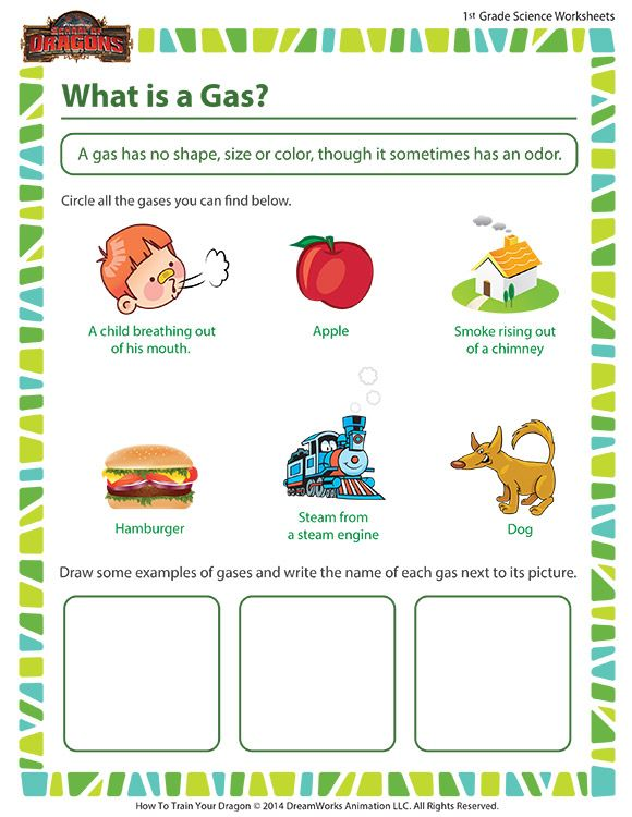 What Is A Gas Free Fun Science Worksheet For First Grade With