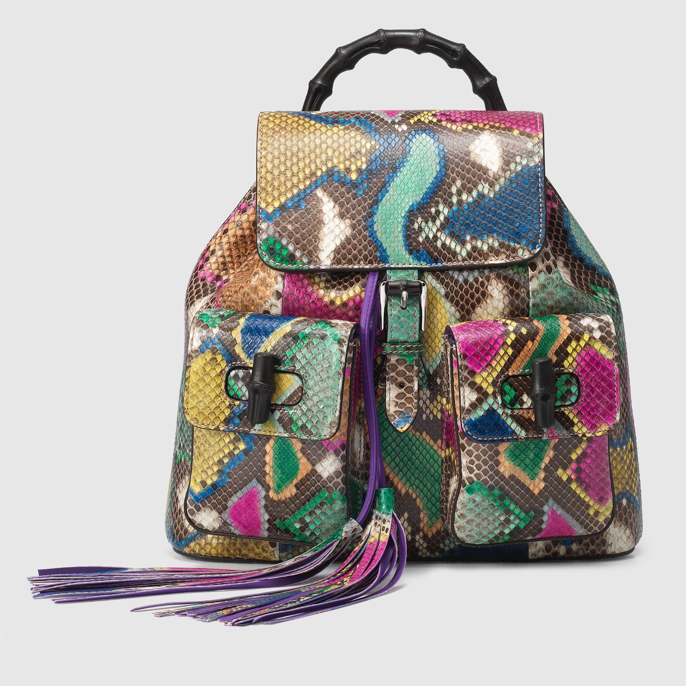 3a9eafd44ba1 Gucci Women - Bamboo python backpack - 370833EWZ2N9577 | purses ...