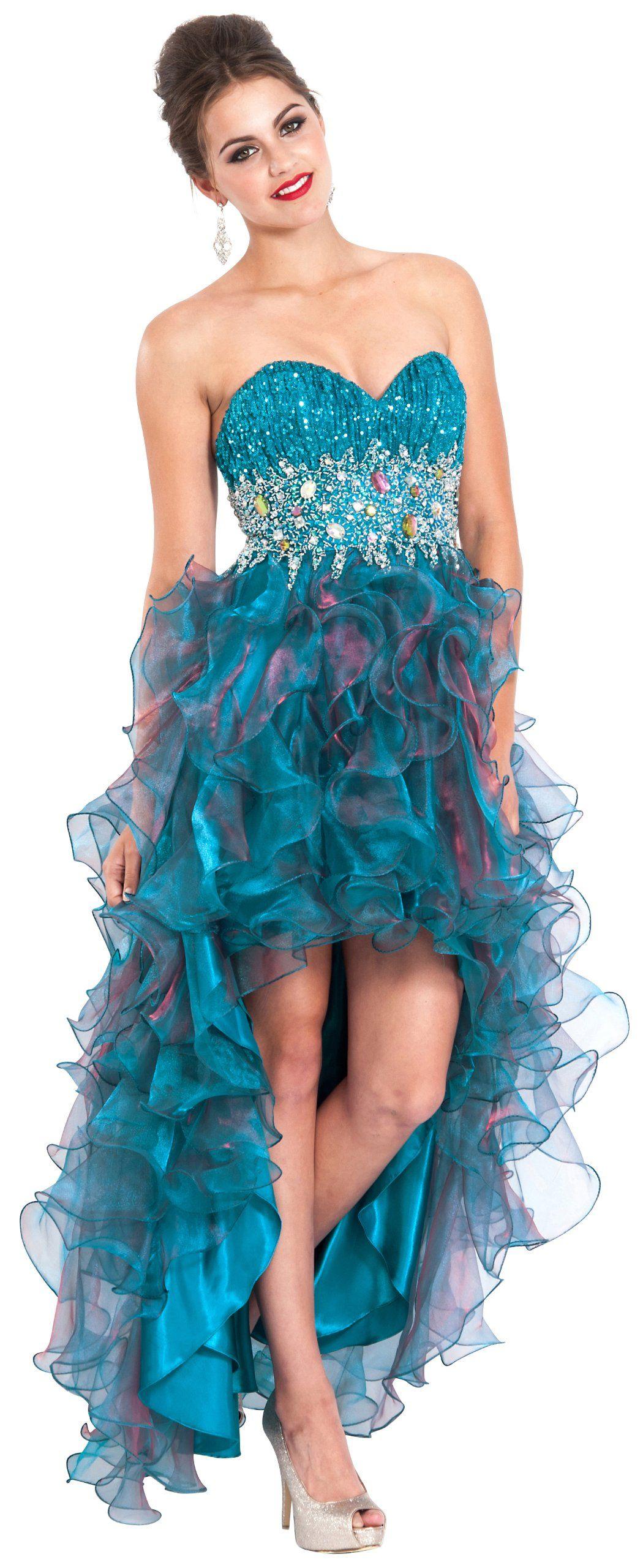 Amazon.com: Organza Gem Hi-Low Ruffle Prom Dress Homecoming Gown ...