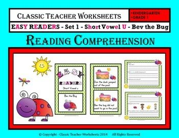 Easy Reader Short Vowel U Reading Comprehension Kindergarten Grade