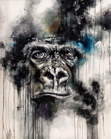 2a5d01e29 'Glare' by Katy Jade Dobson / Oil painting / Gorilla Abstract Animals,  Watercolor