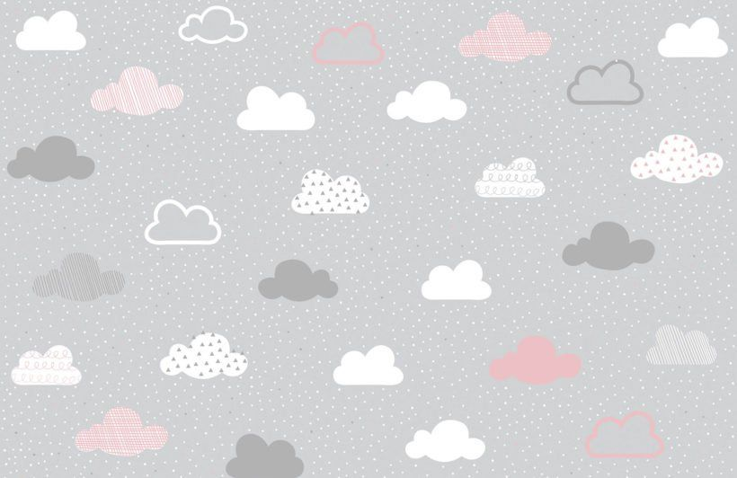 Pink and Grey Clouds Pattern Wallpaper Mural