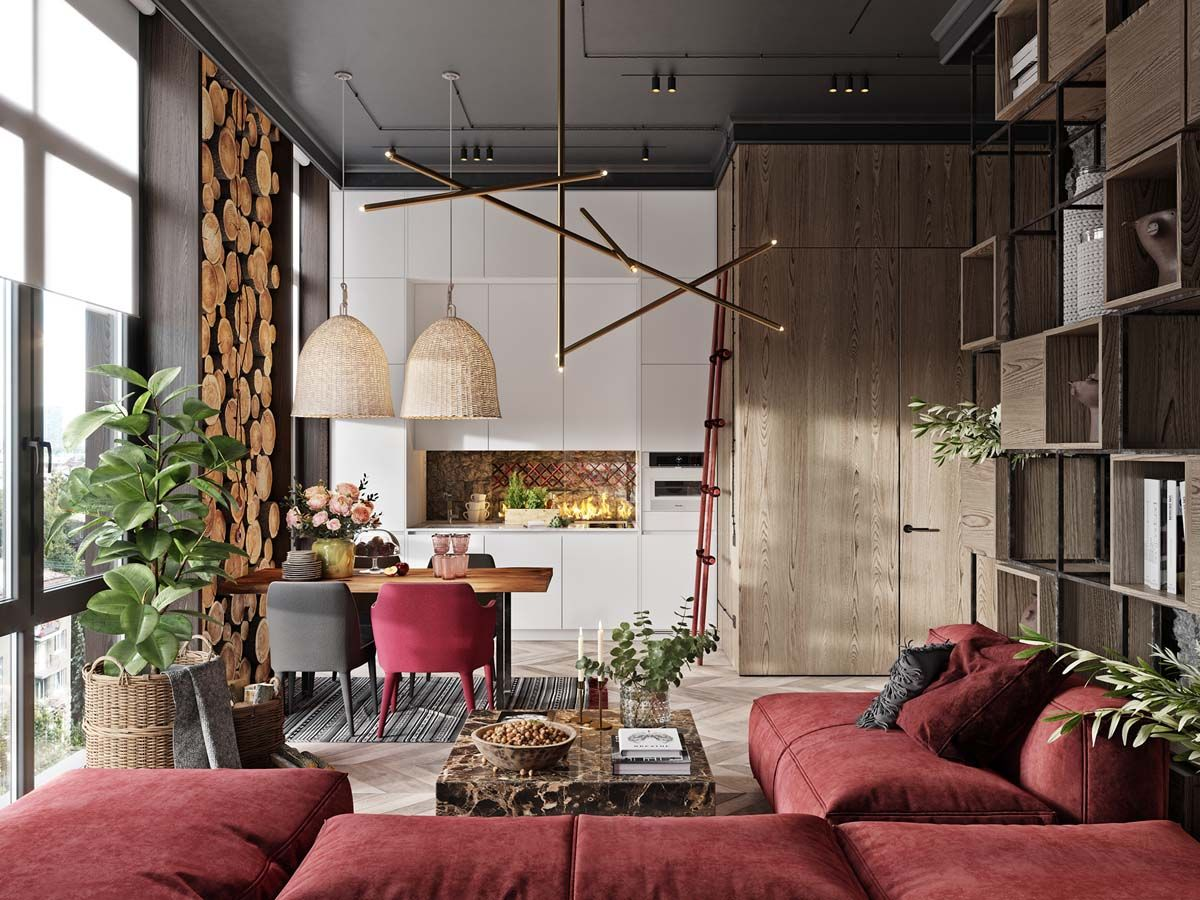 A Plush Red Apartment With Rustic Accents Apartment Interior