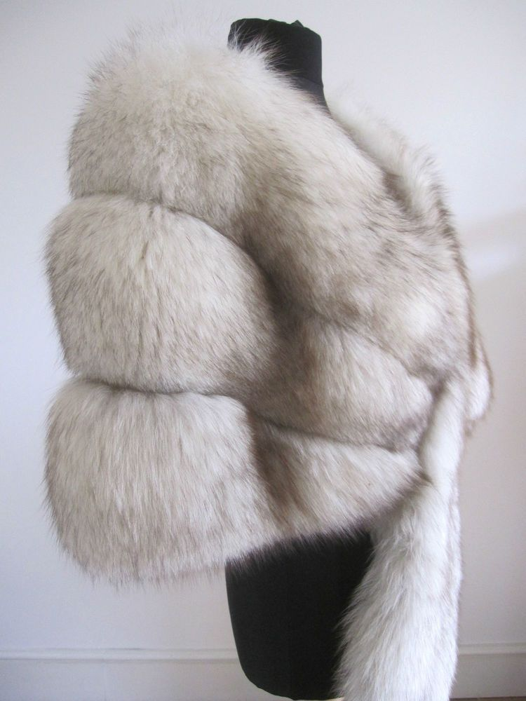 White Fur Stole >> Vtg Ivory White Arctic Blue Norwegian Fox Real Fur Stole Wrap Cape