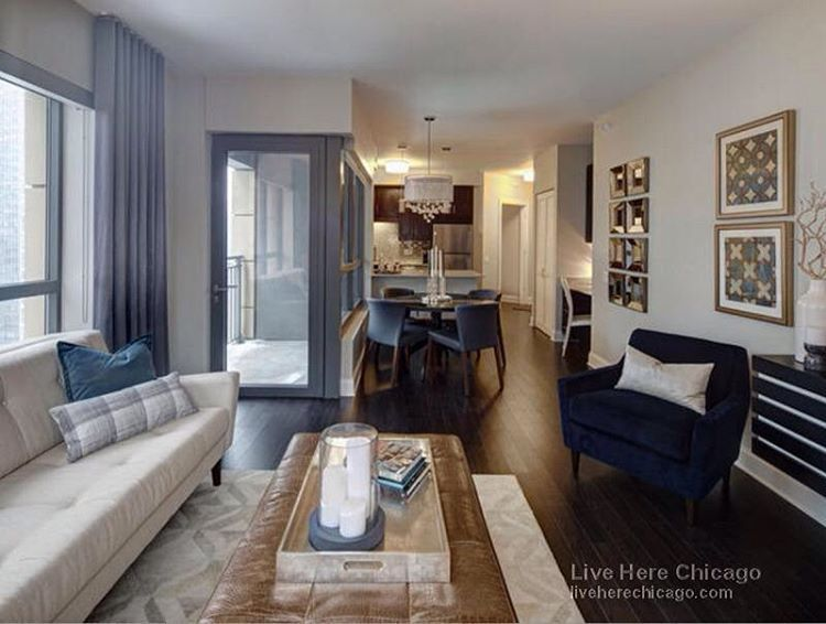 Live Here Chicago On Instagram Take A Look At This Beautiful Unit With Amazing Views Available In Ri Navy Living Rooms Family Living Rooms Amli River North