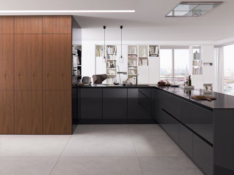 Siematic new veneers increased design options for open plan spaces pictured in natural walnut colour