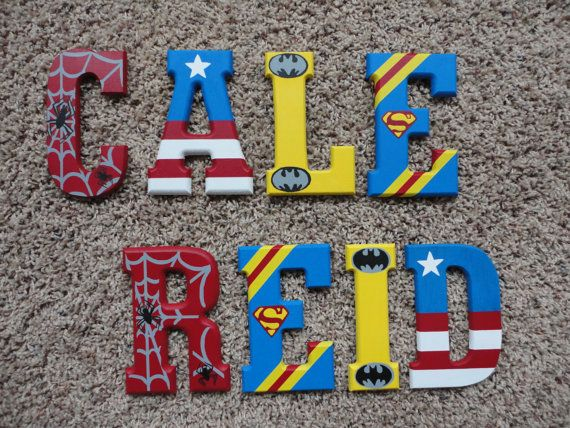 Hand Painted Wooden Letters Super Heroes by WallApproved on Etsy