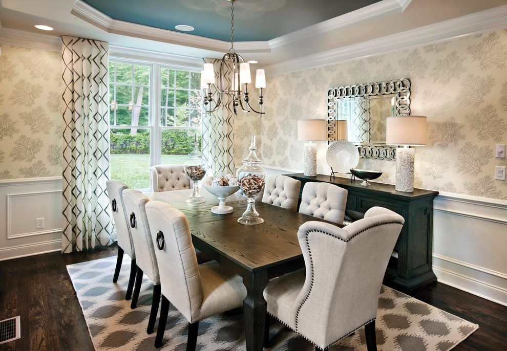 Rectangular dinding table dining room transitional with ...