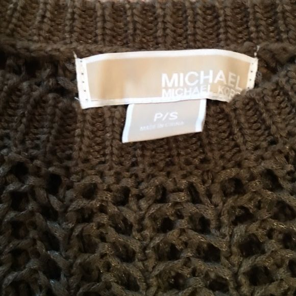 Michael kors sweater Olive green open weave sweater  sized petite small fits true to size great with skinny jeans. I wore with a black tank under neath Michael Kors Sweaters Crew & Scoop Necks