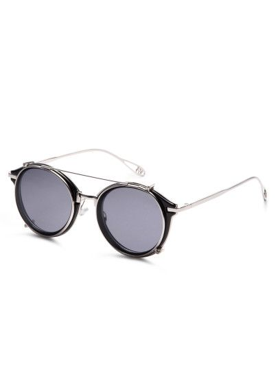 edd988b085c2 Black Metal Frame Double Bridge Sunglasses