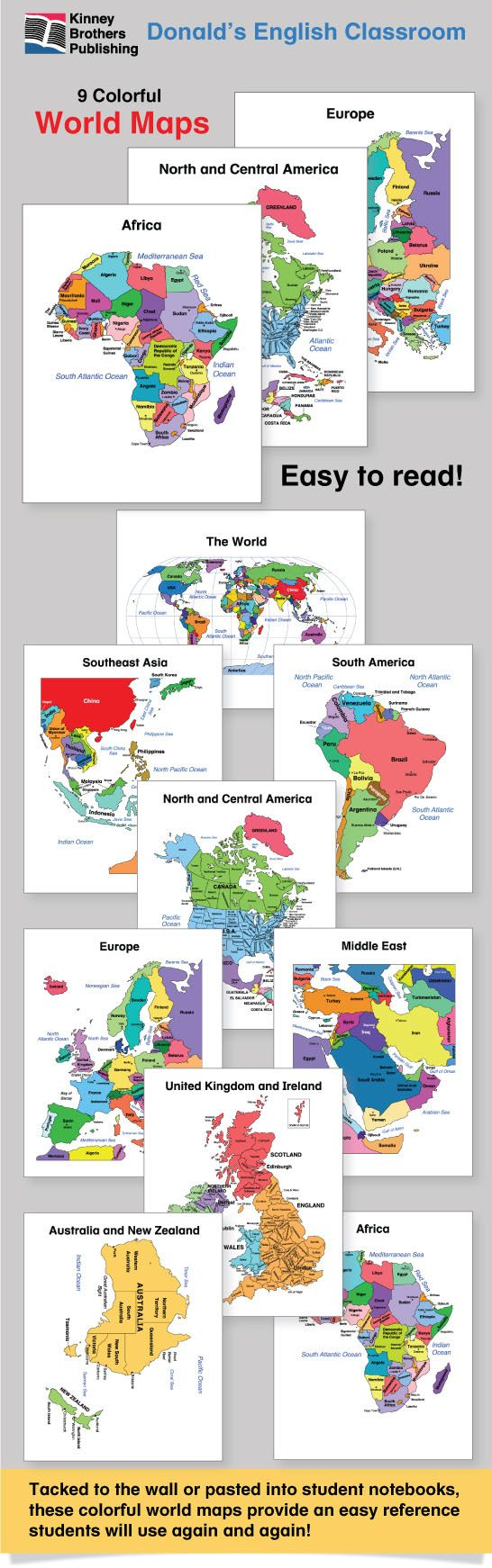 ESL World Maps Students Walls And Geography - Easy to read world map