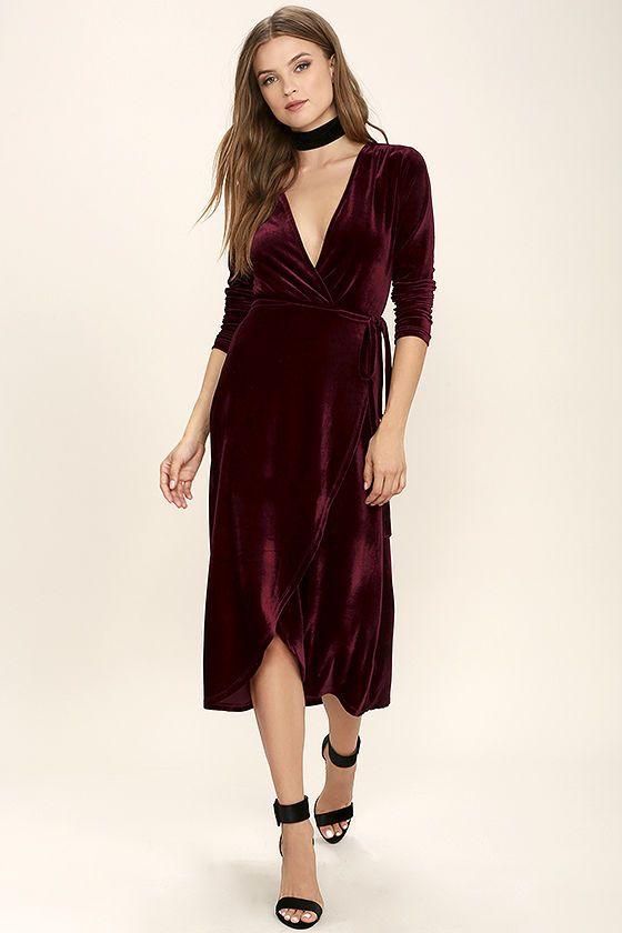 Enchant Me Burgundy Velvet Midi Wrap Dress | Velvet midi