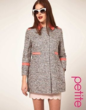 ASOS PETITE Textured Coat With Contrast Collar - StyleSays